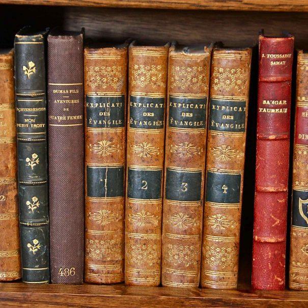 Bibliothèque de livres anciens dans la chambre d'hôtes La Demeure